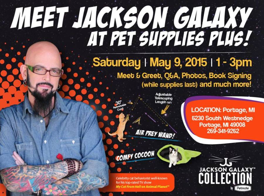 Jackson galaxy to visit portage michigan cattipper for Jackson galaxy shop